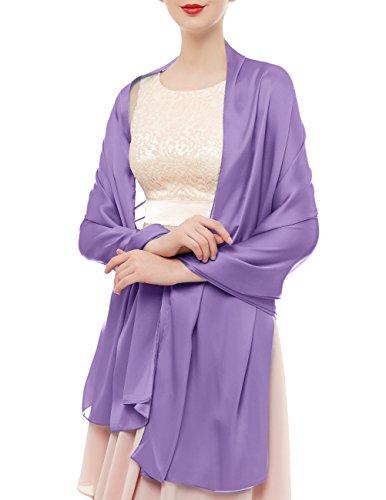 Bridesmay Damen Elegant Seidenschal 180*90cm Seide Halstuch Stola Schal für Kleider in 20 Farben Light Purple