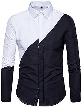 Uomo Camicia Casuale Manica Lunga Tinta Unita Di Grandi Dimensioni Maglietta Top Personalità Camicetta Bianco XL