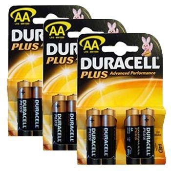 Duracell mn1500plus-b4(3Packungen) Plus Alkaline-Batterie AA Größe Alkaline General Purpose Batterie