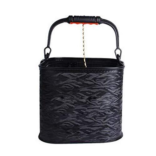 Chenjinxiang01 Falteimer, tragbarer Haushalt mit Seil Falteimer Outdoor Angeln Eimer Waschbecken, grau/schwarz (Kapazität 13L) Wassereimer, mit Deckel Fischbox (Color : Black1, Size : 25 * 23cm)