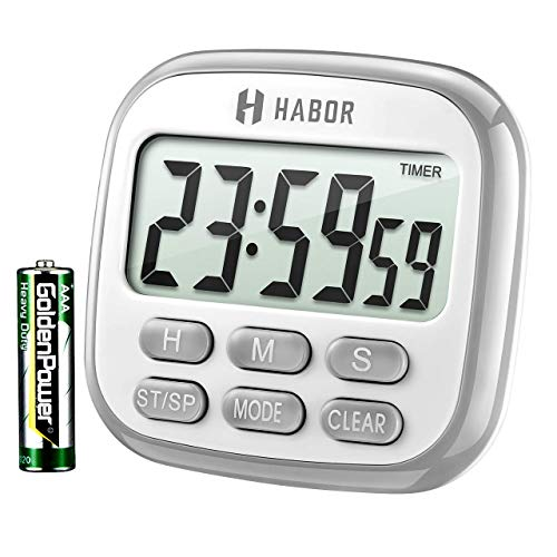 Habor Timer und Uhr 2 in 1 24H Küchentimer Digital magnetisch kitchen  großem LCD Bildschirm mit Lauter Alarm Countdown Retractable Stand Magnetic Backing für Kochen, Backen, Sport, Studieren, Blau