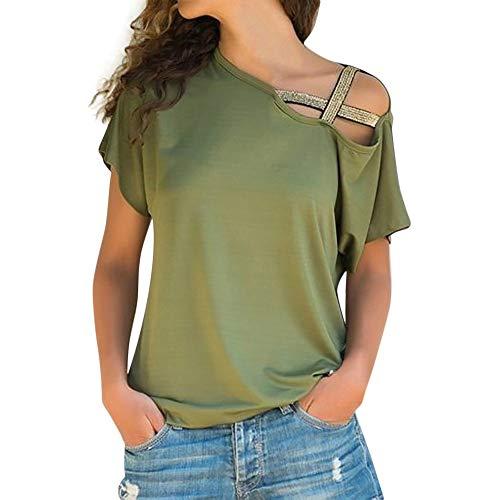 IMJONO Damen Kurzarm T-Shirt ,2019n Jubiläum Frauen beiläufige Sommer lose Schulterfrei T-Shirt Kurzarm Tops Bluse GN/S(Small,Grün)