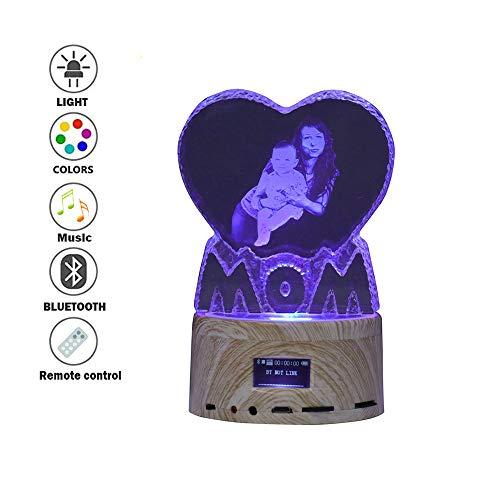 Personalisierte Foto & Text LED Bluetooth-Lautsprecher, tragbare drahtlose Lautsprecher Nachtlicht Farbwechsel Nachttischlampe Tischlampe MP3-Player für Vatertag und Muttertag
