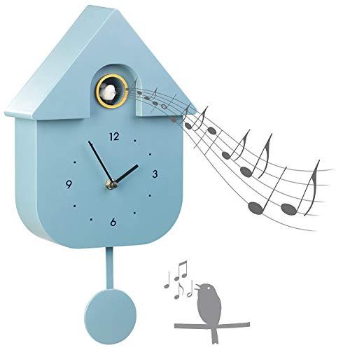 St. Leonhard Uhren: Moderne Quarz-Kuckucksuhr mit Vogelstimme und Nachtruhe-Automatik (Kuckucksuhr modern)