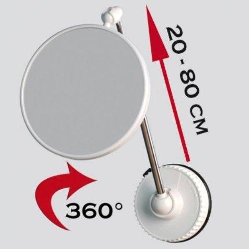 Preisvergleich Produktbild Telescoping Twistmirror 6X to 1X Suction Cup Magnifying Travel Mirror,  White Base by Technical Novelties