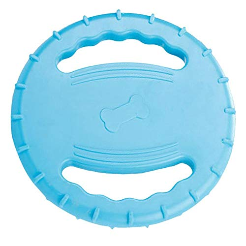 (IW.HLMF Hund Flying Disc Dog Frisbee, Indestructible Rubber Dog Flying Disc, Squeaky Float Dog Flying Disc, Dog Toys, Pet Training Outdoor Toys, Medium und Large Dog Blue 7.87 ' ')
