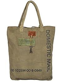 Priti Vintage Design Handbag Tote Bag Travel Bag In Washed Canvas Leather - B0791FD5L4