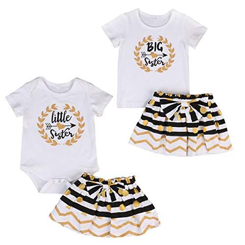 Mädchen passende Outfits Schwestern Strampler/T-Shirt + Faltenrock Geschwister Kleidung Set (Color : White, Size : Big 3-4T)