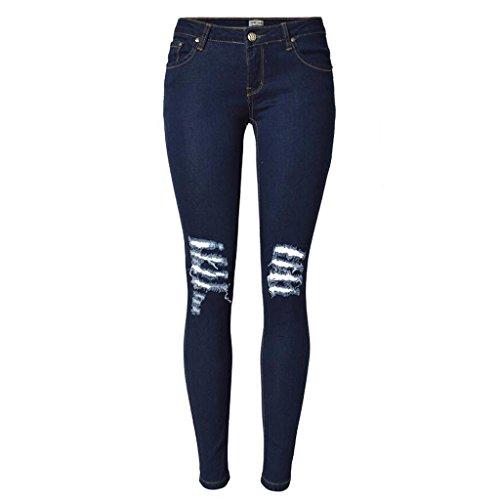 damen jeans disco niedrige taille denim loose straight hosen reißverschluss tasche slim elastizität knie worn hose . deep blue . 36