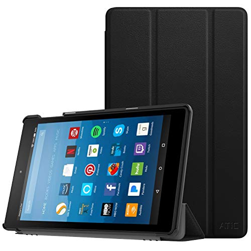 ATiC Case Fits All-New Amazon Fire HD 8 Tablet (7th & 8th Gen, 2017 & 2018 Release)-Smart Lightweight Slim Shell Stand Cover with Auto Wake/Sleep for Fire HD 8, Black