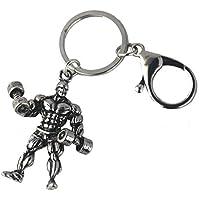 QILEGN Metall Hantel Gewicht Fitness Schlüsselanhänger Geschenk für Männer Gewichtheben Fitness 1 Stück