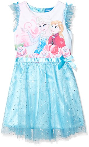 Disney Frozen Mädchen Frozen Sister Roses Kleid, Blau (Blue 15-4421TC), 3-4 Jahr
