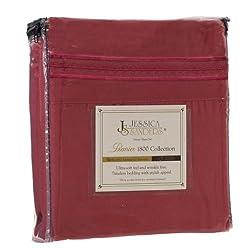 Jessica Sanders Premier 1800 Series 3pc Bed Sheet Set- Twin (Single), Burgundy Red, (75