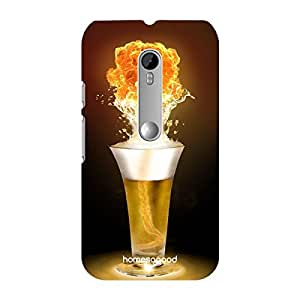 HomeSoGood Flashing Tornado Of Drink Beer Yellow 3D Mobile Case For Moto G 3rd Gen (Back Cover)