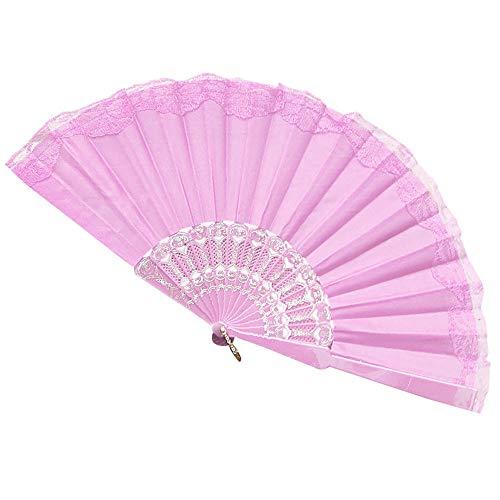Kostüm Tanz Bambus - Sulifor Satin Spitze Fan, Damen Hand Fan mit Geschenkbox chinesische Blume Stoff Fan Bambus Griff Wand Fan Hochzeit Tanz Karneval weiße Blume