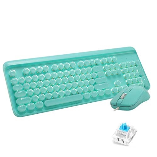 YEMOPDB Gaming Keyboard Mouse - Mechanisch Verkabeltes USB - Tastatur- Und Mausset - Hintergrundbeleuchtung - PC/Laptop/MAC (Color : Green) (Wars Mac Guild)