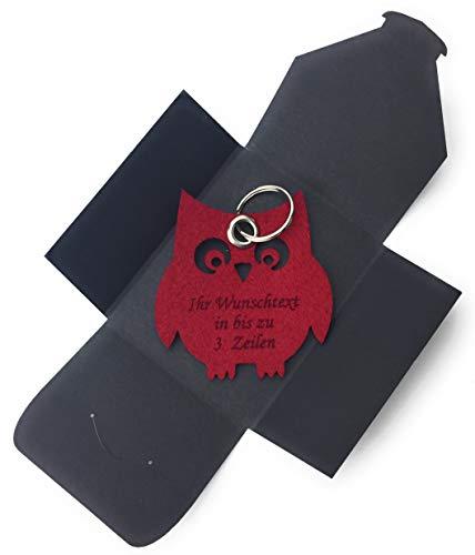 filzschneider Schlüsselanhänger aus Filz - Eule/Nacht / Tier - Bordeaux/dunkel-rot/Wein-rot - mit Namensgravur - Geschenk, Glücksbringer mit Öse und Schlüsselring - Made-in-Germany