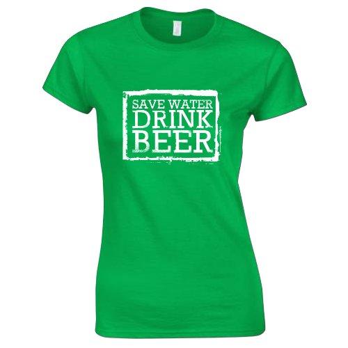 Damen Spar Wasser, Trink Bier St Patrick's Day T-Shirt Grün