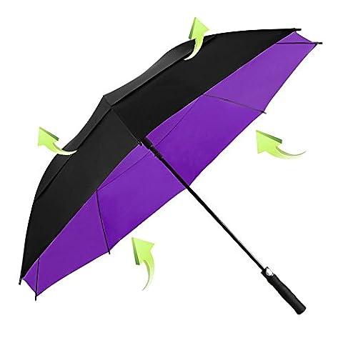 Koler Golf Umbrella Windproof 62 Inch Oversized Double Vented Canopy Auto Open Waterproof & Sunproof Extra large Stick Umbrellas - Black / Purple