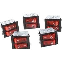 SODIAL(R) 5 piezas de x interruptores de eje de balancin con Luz Roja Iluminada SPST Doble Encendido / Apagado en forma de barco 6 Pin