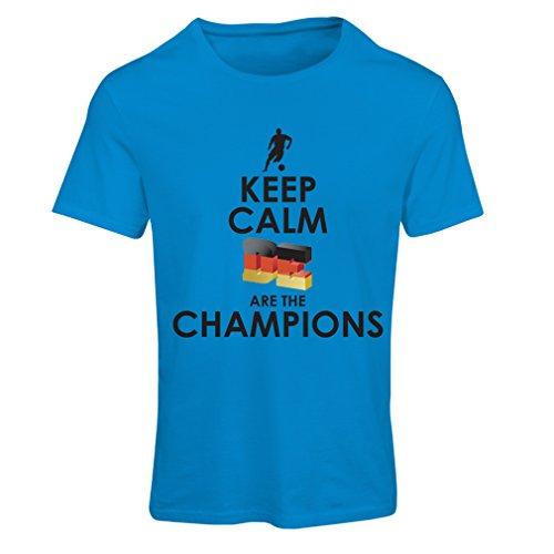 Frauen T-Shirt Deutsche sind die Champions - Russland-Meisterschaft 2018, WM-Fußball, Team von Deutschland Fan-Shirt (Medium Blau Mehrfarben)