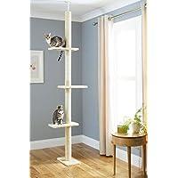 Poste escalador y rascador de suelo a techo para gatos