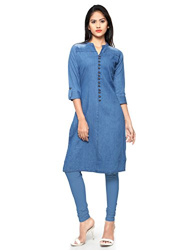 Kvsfab Women's Denim Straight Party Wear Kurta [KVSKR8103DENIM_XL]