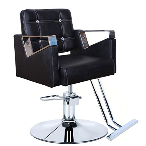 Friseurstuhl Barhocker, klassischer schwarzer hydraulischer stützender Schönheitssalonstuhl-Schönheitssalon, der Stuhlausrüstung anredet - Schwarz Klassischer Barhocker