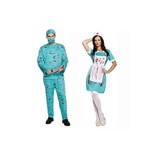 Paar Herren UND Damen Blutig Zombie Doktor & Krankenschwester Halloween Kostüm Verkleidung Outfit (10. Doktor-kostüm-hemd)