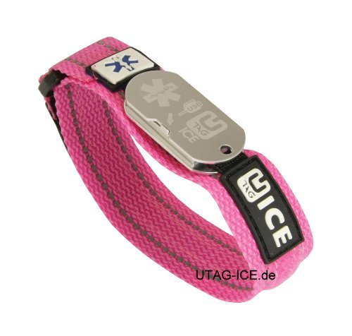Notfall-Armband, pink + SOS Software USB - Stick von UTAG-ICE