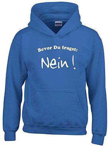 BEVOR DU FRAGST - NEIN ! Kinder Sweatshirt mit Kapuze HOODIE blau-weiss, Gr.152cm
