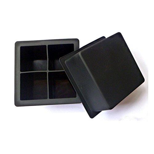 EiswÜRfelform Eiskugelform ,Jaminy 4-Kavität Large Silikon Drink Ice Cube Pudding Gelee SOAP Mold Form Tray Tool Silikon EiswÜRfel Kugelförmige Und WÜRfelförmige Form (10X10X5CM)