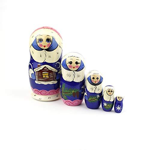 Heka Naturals Matryoshka russische Nesting Dolls Weihnachten Schnee Klassische Babushka handgefertigt in Russland Holz Geschenk Spielzeug (Schnee (Russische Matroschka Kostüm)