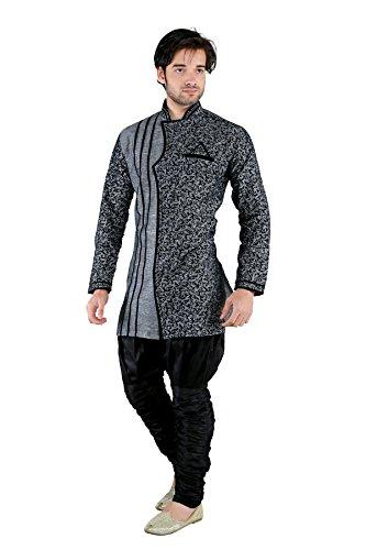 New Looks Men's Linen Kurta Pyjama (NL2224, Grey, Medium)