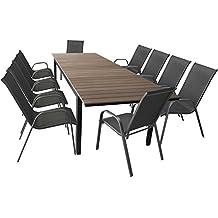 Terrassenmöbel Set Gartentisch Ausziehbar Aluminium Polywood 280/220x95cm +  10 Stapelbare Gartenstühle Mit