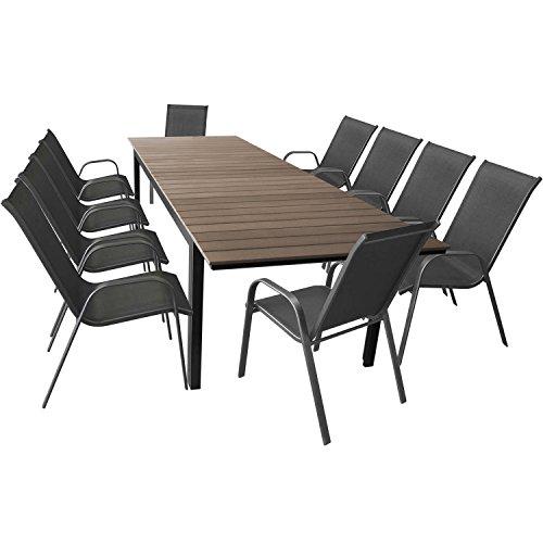 11tlg. Terrassenmöbel Set Gartentisch ausziehbar Aluminium Polywood 280/220x95cm + 10 stapelbare Gartenstühle mit Textilenbespannung Anthrazit – Sitzgarnitur Sitzgruppe
