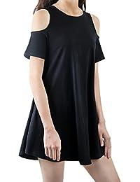 iPretty Mujeres del verano del hombro de la camiseta de manga corta ocasional del estiramiento de la camiseta