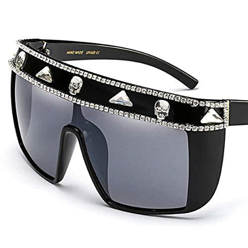 Lisa旗舰店 Sonnenbrillen Europa und die Vereinigten Staaten Mode Perlen Strass Sonnenbrillen Präzision Produktion verbunden großen Rahmen Winddicht Sonnenbrillen,White2
