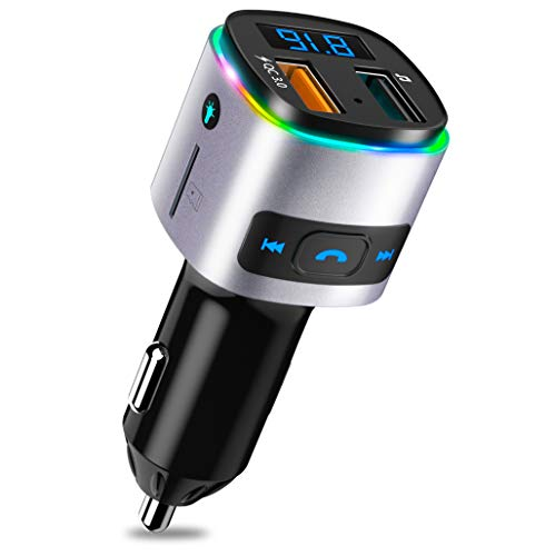 SONRU Transmisor FM Bluetooth para Coche, Manos Libres Mechero para Vehículos Reproductor MP3 Adaptador para Coche, con Cargador QC3.0 USB Puerto Apoyo U Disco Tarjeta TF con Luz Colorida