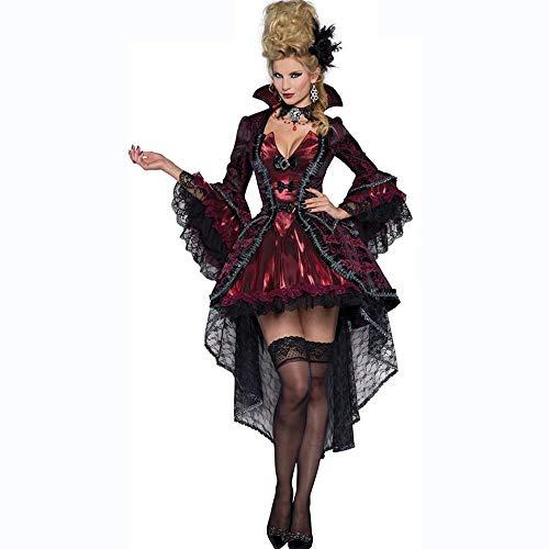 (Olydmsky karnevalskostüme Damen Halloween Cosplay Kostüm Vampir Hexe Königin Maxi Dress Uniform Prom)