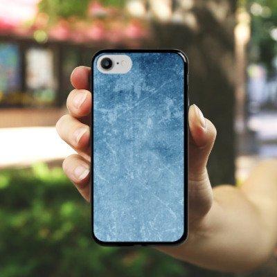 Apple iPhone X Silikon Hülle Case Schutzhülle Muster Blau Kratzer Struktur Hard Case schwarz