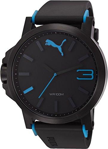 Puma Ultrasize - Reloj análogico de cuarzo con correa de poliuretano para hombre, color negro/negro y azu