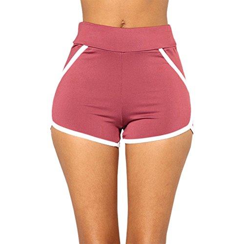 Asalinao Sommer Hosen Frauen Sport Shorts Gym Workout Bund Yoga Laufen Shorts - Nylon Spandex Pink Panty Kurz