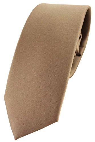 TigerTie schmale Satin Krawatte braun goldbraun beigebraun uni - Binder Schlips Tie Polyester