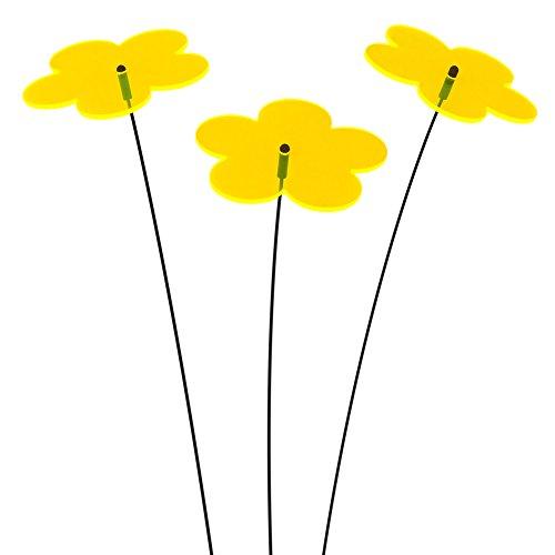 """SUNPLAY \""""Sonnenfänger Blumen\"""" in GELB, 3 Stück je 10 cm Durchmesser im Set + 35 cm Schwingstäbe"""