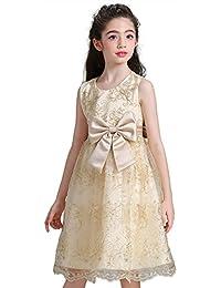 GEMVIE Vestido de Fiesta Boda con Lazo para Niña Princesa Cumpleaños