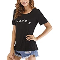 Cuihur Women's Summer Short Sleeve Friends T Shirt Loose Casual Graphic Tees Blouse Tops Black XL