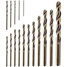 Juego de 16 brocas para taladro de 1 mm a 10 mm de titanio, cobalto, M35, HSS, herramienta industrial para acero inoxidable, acero, cobre, hierro, aluminio, madera y plásticohttps://amzn.to/2C0hGW4