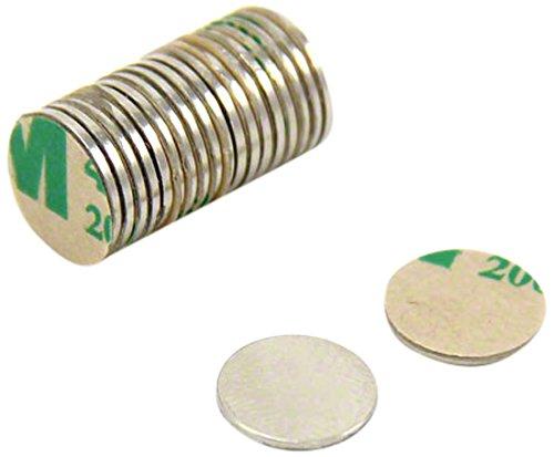 First4magnets SP095075NA-20 Selbstklebende 9,5 x 0,75 mm dicken N35 Neodym-Magneten - Nord zeigen (Packung mit 20), silver, 25 x 10 x 3 cm, Stück -