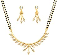 Touchstone gold tone Indian bollywood ethnic white rhinestones pretty mangalsutra necklace set jewelry for wom